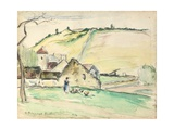 The Farm at Chatillon-Sur-Seine  1882 (W/C  Wash and Charcoal on Paper)