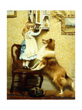 Little Girl and Her Sheltie  1892