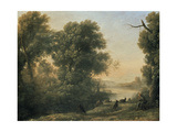 River Landscape with Goatherd Piping  17th Century