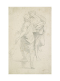 Two Figures Standing on a Flight of Steps  after Raphael (Graphite on Fine-Textured White Paper)