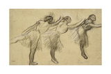 Three Studies of a Ballerina (Charcoal Rubbed and Touched with Pink and Brown Pastels on Thin