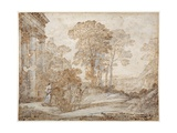 The Meeting Between Venus and Aeneas  C1678 (Pen and Ink with Wash on Paper)