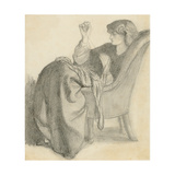 Lachesis: Study of Jane Morris Seated in a Chair Sewing  1860s