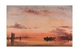 Santa Maria Della Salute  Venice: Evening  (Oil on Paper Laid Down on Canvas)