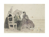 Three Women Seated on Chairs on a Beach