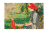 Reading in the Garden; or Woman in Red Hat  C 1880-1882 (Pastel and Charcoal on Canvas)