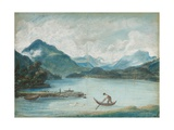 View of Lake Geneva with a Man Rowing a Small Boat and Two Swans