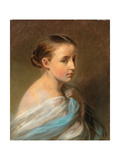 Portrait of a Girl  Head and Shoulders  Draped in a Blue and White Wrap  C1850