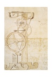 Drawing of Galileo's Pendulum Clock  Manuscript by Galileo Galilei (1564-1642)  85 Gal  F 50 R