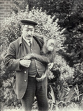 Keeper Z Rodwell Holding Young Orangutan at London Zoo  October 1913