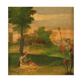 Idyll: Young Mother and Halberdier in a Wooded Landscape