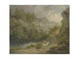 Rocky Landscape with Two Men on a Horse  1791