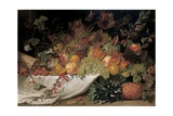 Fruit and Flowers on a Stone Ledge  1829