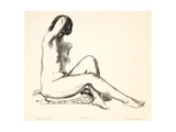 Nude Study  Girl Sitting on a Flowered Cushion  1923-24