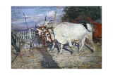 Ox Cart  1885  by Giovanni Boldini (1842-1931)  Oil on Panel  17X25 Cm Italy  19th Century