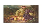 Still Life with Fruit in a Landscape  a Hunting Party Beyond  1859