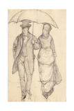 Man and Woman under an Umbrella (Study for Paris Street  Rainy Day)  1877