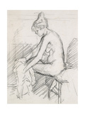 Study of a Nude Female  Seated  Drying Her Right Foot