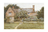 A Surrey Cottage with a Mother and Her Children (Watercolour with Scratching Out)
