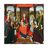The Virgin and Child with Saints and Donors  a Panel from 'The Donne Triptych' C1478 (Oil on Oak)