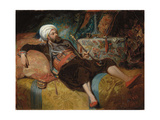 A Reclining Turk Smoking a Hookah  1844