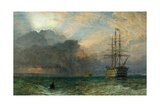 Man O'War and a Stormy Sunset (The Guardship)  1875