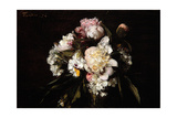 Peonies  White Carnations and Roses  1874