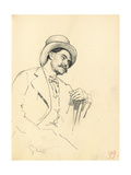 Study for 'A Parisian Cafe': Seated Man with Hat  C 1872-1875