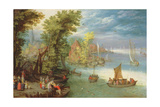 River Landscape with a Village and a Landing  1612