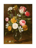 Still Life of Flowers in a Glass Vase (Panel)