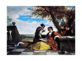 Two Men and Young Woman Making Music on Terrace  1670-1675