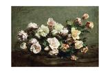 Vase of White Roses on a Table; Vase De Roses Blanches Et Roses Sur La Table