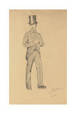 A Study for 'A Parisian Cafe' (1875): Gentleman in a Top Hat  1875