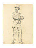Study for 'A Parisian Cafe': Standing Man with a Hat  Legs Apart  C 1872-1875
