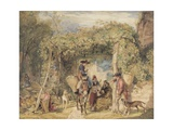 Figures and Animals in a Vineyard  C1829 (W/C  Gouache and Graphite on Paper)