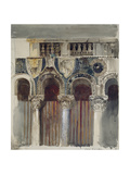 Study of the Marble Inlaying on the Front of the Casa Loredan  Venice  September - October 1845