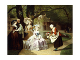Marie Antoinette and Louis XVI in the Tuileries Garden with Madame Lambale  1857