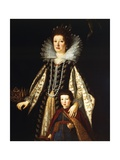 Portrait of Archduchess Maria Maddalena of Austria with Her Son Ferdinand Ii  1622-23