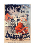 Poster Advertising the Concert Des Ambassadeurs  1884