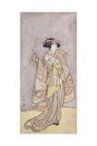 A Full-Length Portrait of the Actor Ichikawa Monnosuke II in a Female Role Holding an Incense Burne