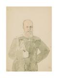 Portrait of Emperor Alexander III (1845-1894) (Pencil and W/C on Paper)