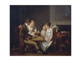Painting of Family Game of Checkers  Ca 1803