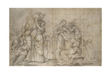 Recto: the Birth of the Baptist (Black Chalk with Pen and Brown Ink and Grey Wash