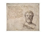 Antique Bust of Sophocles  Annotated  after Fulvio Orsini
