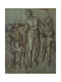 The Holy Family with St John the Baptist  C1540 (Brush and Brown Wash on Panel)