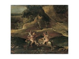 Putti Fighting on Goats