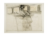 Woman Looking at Watteau Drawings in the Louvre  C 1895