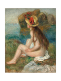 Nude with a Straw Hat Beside the Sea  1892