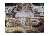 View of Castle and Gardens of Versailles from Avenue De Paris  1668