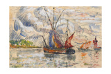 Fishing Boats in La Rochelle  C1919-21 (Graphite  W/C and Opaque White)